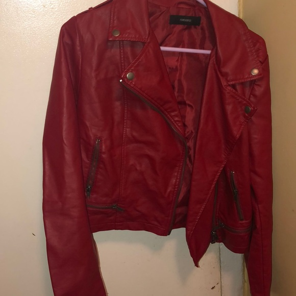 fcf433134 Red faux leather jacket